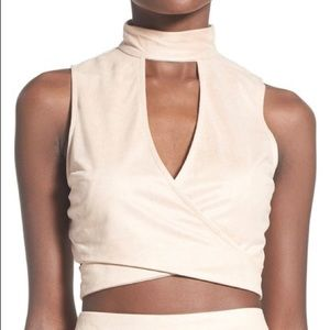 NWT missguided faux suede crop top in rose 12